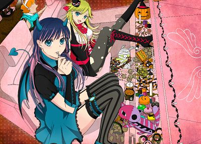 Panty and Stocking with Garterbelt, anime girls, Anarchy Panty, Anarchy Stocking, striped legwear - desktop wallpaper