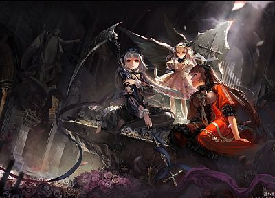 dress, flowers, maids, scythe, red eyes, anime, white hair, anime girls, Alphonse (White Datura) - desktop wallpaper