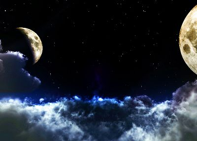clouds, outer space, stars, Moon - desktop wallpaper
