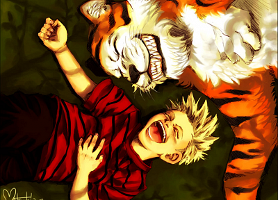 tigers, Calvin, Calvin and Hobbes - random desktop wallpaper