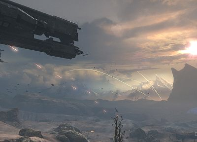 video games, mountains, Halo, Halo Reach, spaceships, vehicles - related desktop wallpaper