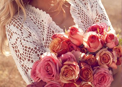 blondes, women, nature, dress, flowers, see-through, advertisement, roses, Lily Donaldson, campaign - desktop wallpaper