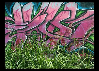 green, grass, graffiti, urban - desktop wallpaper