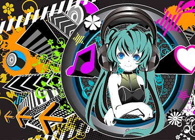 headphones, music, Vocaloid, Hatsune Miku - random desktop wallpaper