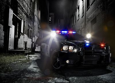 lights, cars, police, muscle cars, Dodge Charger, police cruiser - desktop wallpaper