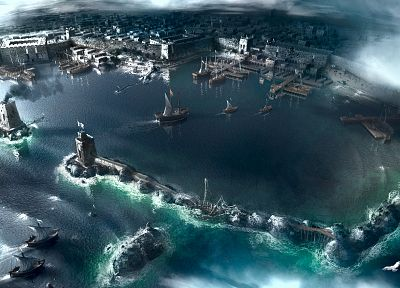 video games, clouds, Assassins Creed, cityscapes, ships, artwork, port, sea - random desktop wallpaper