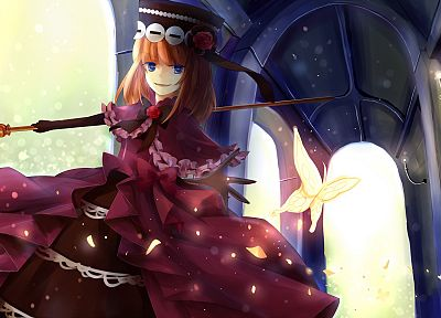 witch, dress, Umineko no Naku Koro ni, weapons, short hair, staff, hats, Eva-Beatrice - random desktop wallpaper