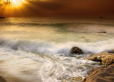 sunset, ocean, landscapes, nature, waves, sea, beaches - desktop wallpaper