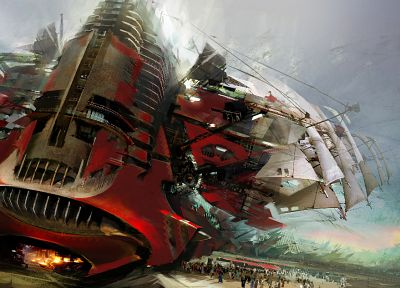 Guild Wars, concept art, science fiction, artwork, sails, Daniel Dociu - random desktop wallpaper