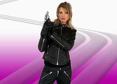 leather, women, girls with guns - random desktop wallpaper