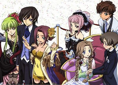 Code Geass, Kururugi Suzaku, Euphemia li Britannia, Stadtfeld Kallen, Lamperouge Nunnally, Lamperouge Lelouch, C.C., Lamperouge Rolo - random desktop wallpaper