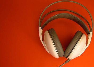 headphones, orange, AKG - desktop wallpaper