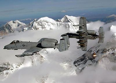 mountains, snow, aircraft, military, planes, A-10 Thunderbolt II - desktop wallpaper