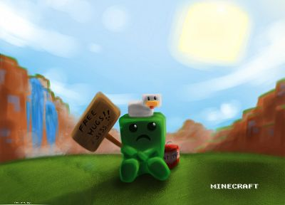 video games, freedom, chicken, creeper, Minecraft - desktop wallpaper