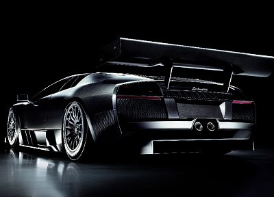 cars, Lamborghini, vehicles, Lamborghini Murcielago, black cars, italian cars, backview cars - random desktop wallpaper