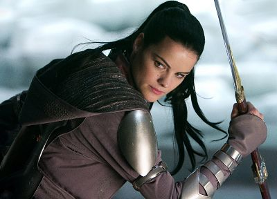 brunettes, women, Thor (movie), Jaimie Alexander, Sif, girls with weapons - desktop wallpaper