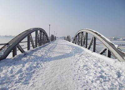 landscapes, winter, frozen, bridges - random desktop wallpaper
