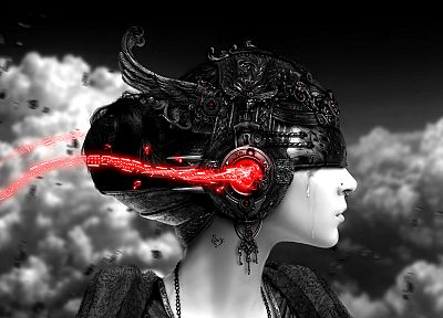 women, clouds, music, selective coloring - desktop wallpaper