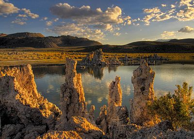 mountains, landscapes, rocks, California, sunlight, Mono Lake - random desktop wallpaper