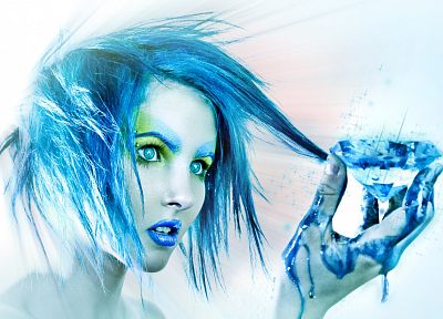 blue hair, piercings, I Must Be Dead - related desktop wallpaper