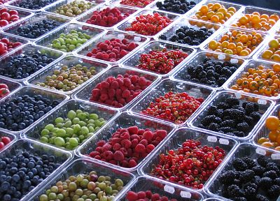 fruits, food, grapes, raspberries, tomatoes, blueberries - related desktop wallpaper