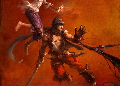 Prince of Persia, artwork, Elika, red background - desktop wallpaper
