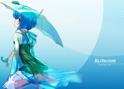 blue, blue hair, umbrellas, Dlsite, Elle Sweet - related desktop wallpaper