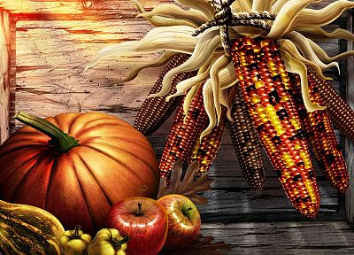 corn, pumpkins - related desktop wallpaper