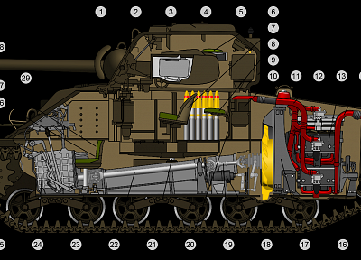 tanks, cutaway, M4 Sherman - random desktop wallpaper