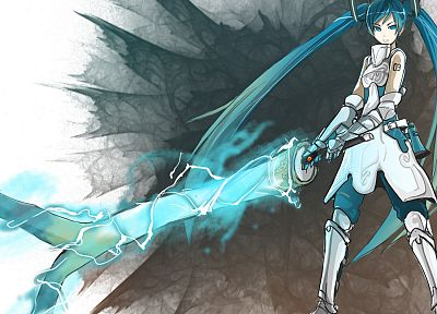 Vocaloid, Hatsune Miku, skirts, armor, twintails, anime girls, swords, Shirogane Usagi (Artist) - related desktop wallpaper