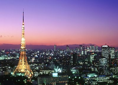 Tokyo, cityscapes, architecture, buildings, city lights - desktop wallpaper