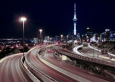 night, lights, tower, highways, downtown, roads, Auckland, long exposure, skyscapes - related desktop wallpaper