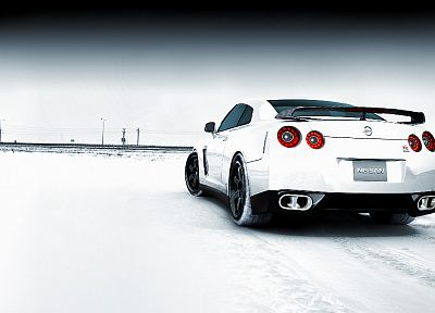 snow, cars, Nissan, back view, white cars, Nissan Skyline GT-R, Nissan GT-R R35 - related desktop wallpaper