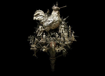 sculptures, artwork, roosters, kris kuksi, black background - related desktop wallpaper