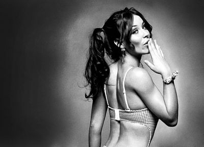 women, Evangeline Lilly, monochrome - desktop wallpaper