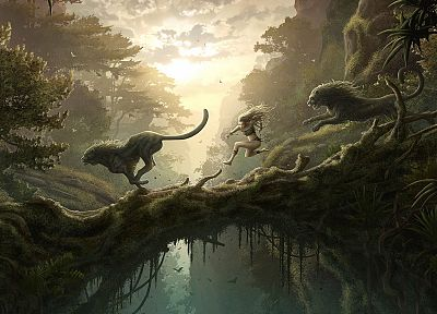nature, forests, CGI, fantasy art, lions, Kerem Beyit - related desktop wallpaper