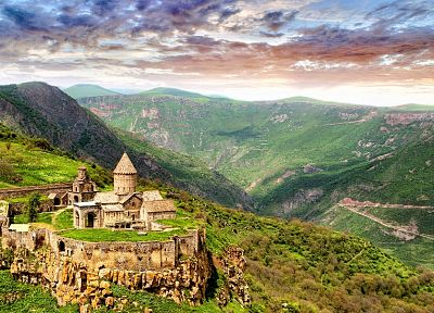 mountains, landscapes, ruins, architecture, churches - related desktop wallpaper