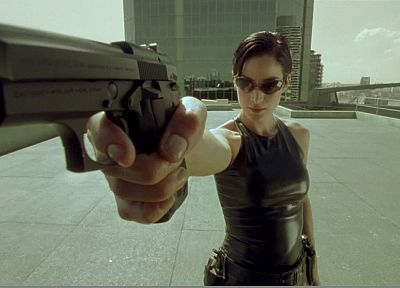 Matrix, Trinity, screenshots, rooftops, Carrie-Anne Moss, handguns - related desktop wallpaper