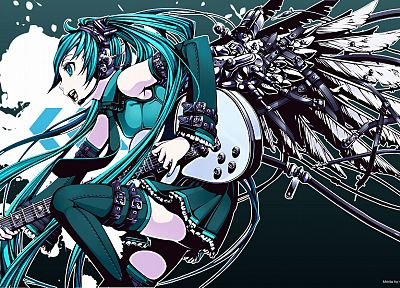 wings, Vocaloid, Hatsune Miku, thigh highs, instruments, guitars, open mouth, detached sleeves - desktop wallpaper