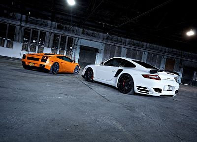 cars, vehicles, Lamborghini Gallardo, white cars, Porsche 911 - related desktop wallpaper