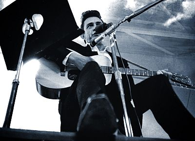 music, men, grayscale, guitars, Johnny Cash, low-angle shot - related desktop wallpaper