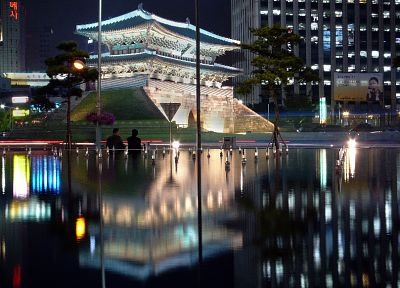 cityscapes, lights, Asian architecture, Seoul, reflections, South Korea - desktop wallpaper