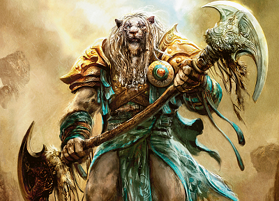 Magic: The Gathering, weapons, armor, artwork, Planeswalker, Ajani - random desktop wallpaper