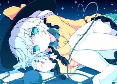 Touhou, skirts, sparkles, pantyhose, short hair, checkered, lying down, white hair, aqua eyes, Komeiji Koishi, hats, anime girls, third eye - desktop wallpaper