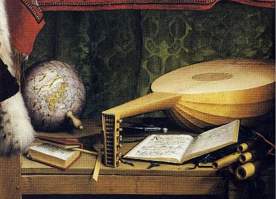 paintings, globes, lute - random desktop wallpaper