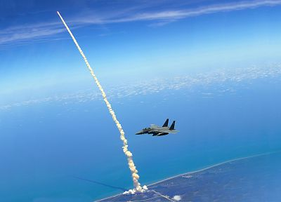Space Shuttle, F-15 Eagle, Space Shuttle Atlantis, shuttle, skyscapes, Cape Canaveral - random desktop wallpaper