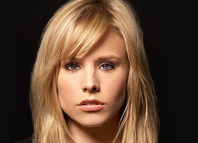blondes, women, Kristen Bell, actress, celebrity, faces, black background - related desktop wallpaper