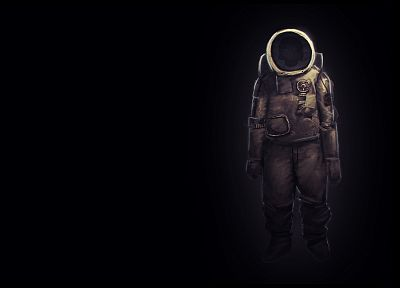 astronauts, space suits, artwork, black background - desktop wallpaper