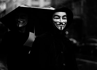 Anonymous, grayscale, Guy Fawkes, V for Vendetta, umbrellas - related desktop wallpaper