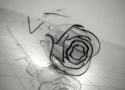 black and white, nature, flowers, glass, leaves, tables, darkness, crystals, roses - desktop wallpaper
